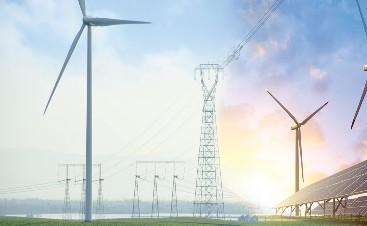 Image of wind farm and transmission lines