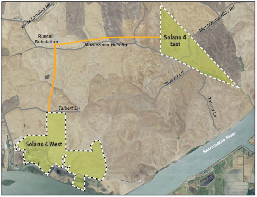 Map of Solano 4 Wind Project