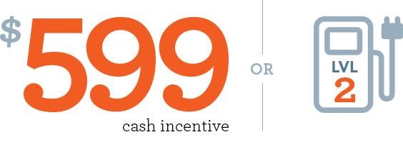 Graphic for $599 cash incentive of for level 2 electric vehicle charger