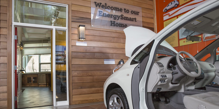Electric vehicle interior and exterior of EnergySmart home