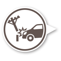 car hit power line icon