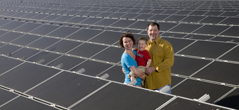 couple in a solar array
