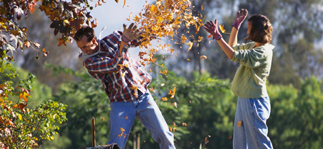 couple throwing leaves